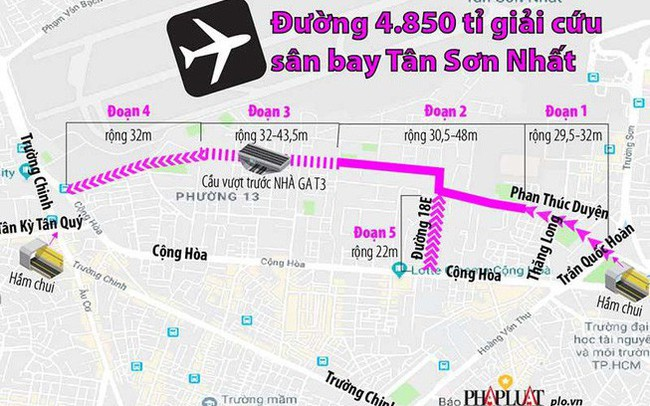 Gần 4.850 tỉ nối đường giảm tắc sân bay Tân Sơn Nhất