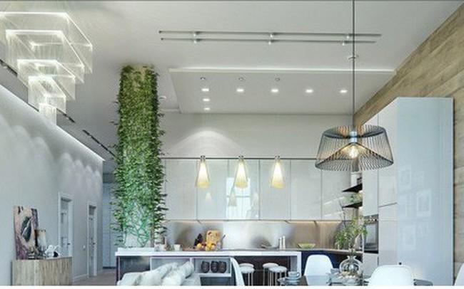 Phòng ăn có phong cách đan xen truyền thống và hiện đại