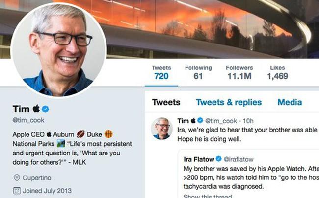 """CEO Apple Tim Cook đổi tên Twitter thành """"Tim Apple"""" sau khi bị Tổng thống Mỹ Donald Trump gọi nhầm"""