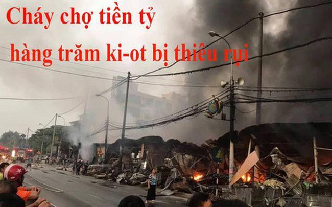 Toàn cảnh hiện trường tan hoang vụ cháy chợ Còng lúc rạng sáng, hàng trăm ki-ốt bị thiêu rụi