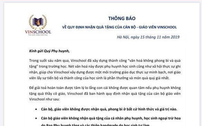 Vinschool thông báo nóng trước ngày 20/11: Cán bộ, giáo viên không được nhận bất kỳ quà, phong bì từ học sinh, phụ huynh... trừ hoa và đồ handmade
