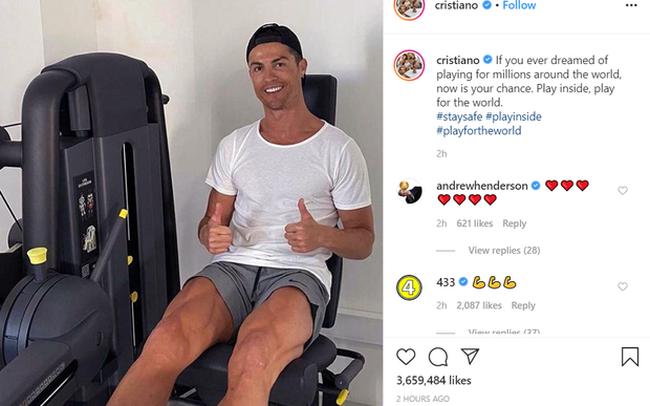 Giữa đại dịch Covid-19, Ronaldo truyền đi thông điệp ý nghĩa nhận về hàng triệu lượt thả tim: Vì cả thế giới, các bạn hãy ở nhà