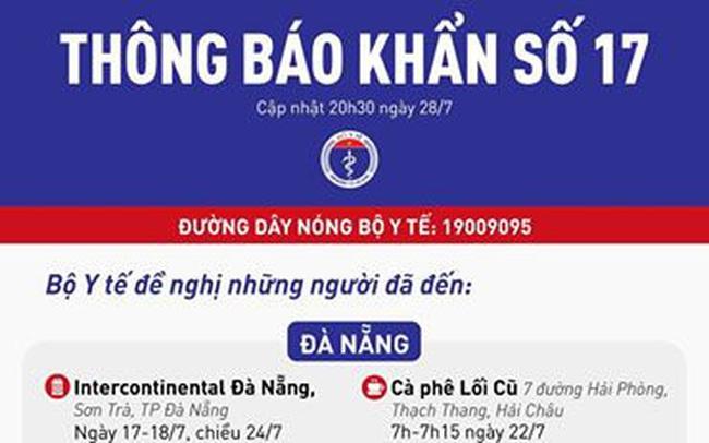 Thông báo khẩn: Tìm người từng đến 20 địa điểm tại Đà Nẵng và Quảng Nam