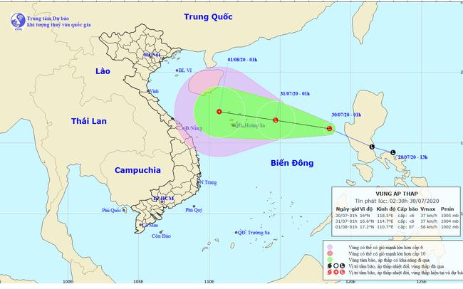 Vùng áp thấp cách quần đảo Hoàng Sa khoảng 650km