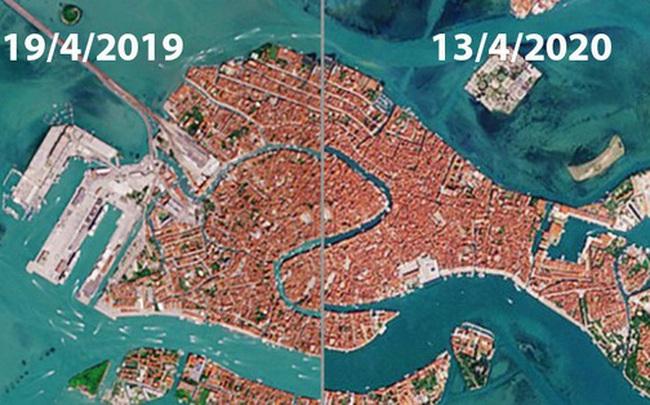 Venice trước và sau khi phong tỏa vì Covid-19 nhìn từ vũ trụ: Biểu tượng nước Ý bỗng trong xanh, sạch bóng tàu thuyền
