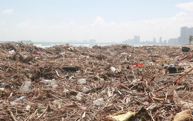 Kinh hãi với những núi rác khổng lồ trên bãi biển Đà Nẵng sau bão