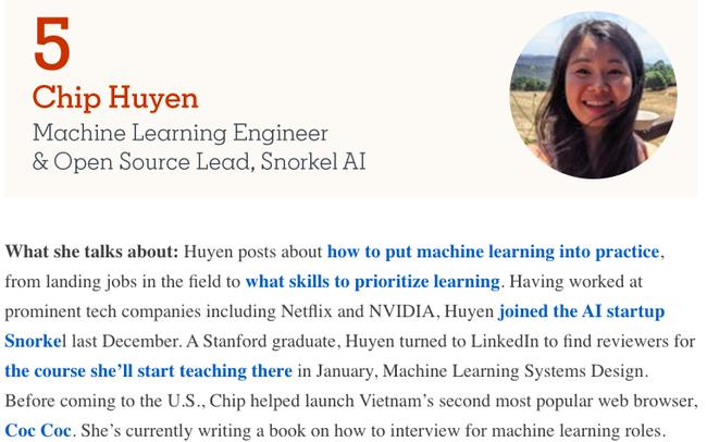 Huyền Chip lọt Top10 những gương mặt nổi bật nhất lĩnh vực Khoa học Dữ liệu & AI toàn cầu năm 2020 do Linkedln bình chọn