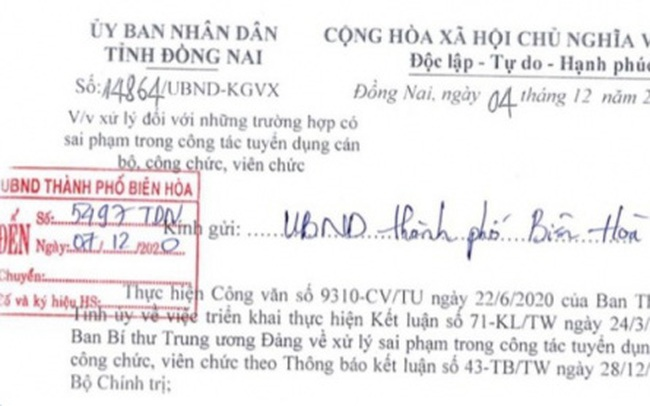 Đồng Nai chỉ đạo xử lý sai phạm trong tuyển dụng 358 cán bộ, công chức, viên chức
