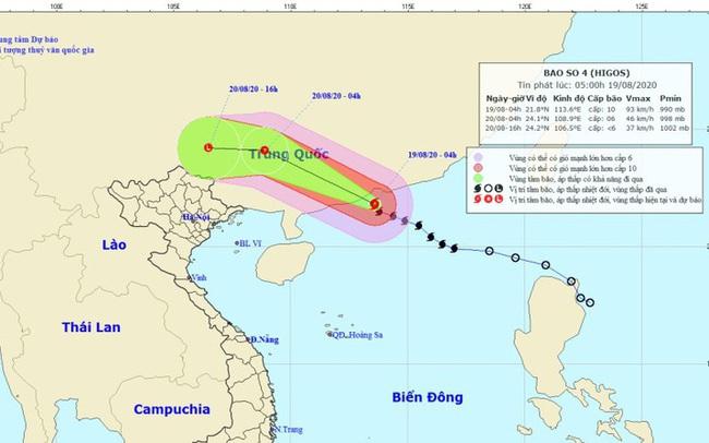 Bão số 4 HIGOS giật cấp 13 trên Biển Đông