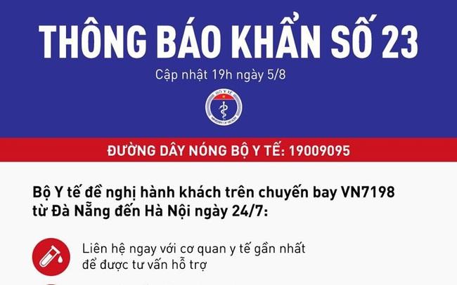 Khẩn: Truy tìm hành khách trên chuyến bay VN7198 từ Đà Nẵng ra Hà Nội