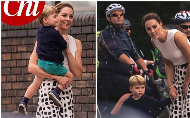 """Công nương Kate """"gây sốt"""" MXH bằng khoảnh khắc rời xe hơi, bế con trai út đi bộ giữa dòng người đông đúc lúc gặp cảnh tắc đường"""
