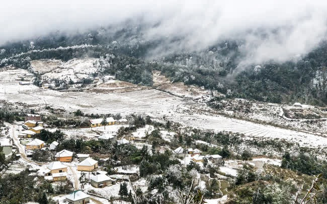 """Ảnh: Đẹp ngỡ ngàng khung cảnh tuyết rơi phủ trắng đỉnh đồi Y Tý - Lào Cai, """"mùa săn tuyết"""" chính thức bắt đầu!"""