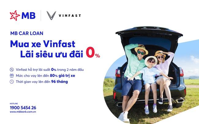 Mua xe Vinfast với lãi suất vay ưu đãi 0% của MB