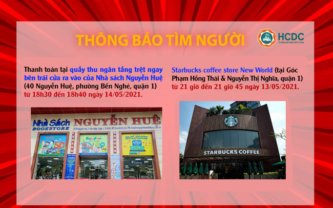 Thông báo khẩn: TPHCM tìm người đến Nhà sách Nguyễn Huệ, Starbucks quận 1