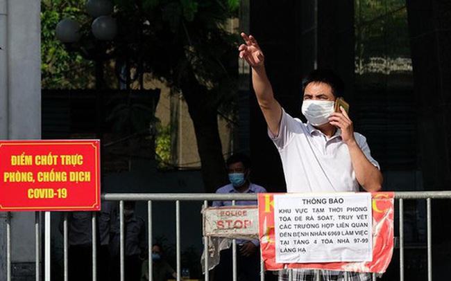 Phong tỏa tạm thời tòa nhà 97-99 Láng Hạ vì nữ nhân viên 9X dương tính với SARS-CoV-2