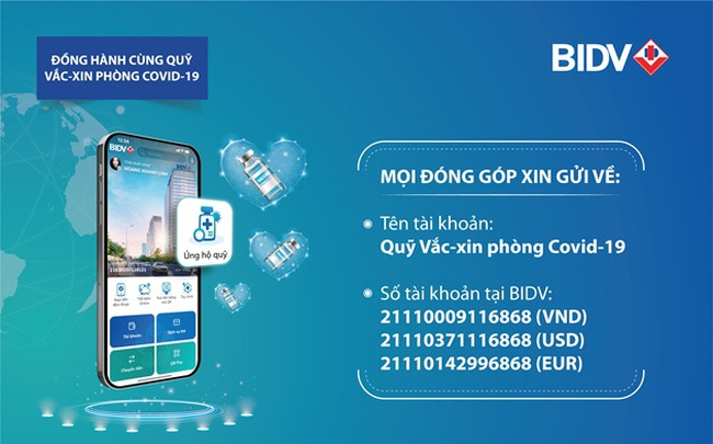 BIDV miễn phí chuyển tiền ủng hộ Quỹ Vắc-xin phòng chống Covid-19