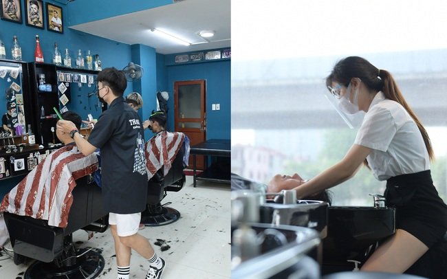 Ảnh: Sau gần 1 tháng chờ đợi, người dân đi cắt tóc gội đầu ngay trong sáng đầu tiên Hà Nội nới lỏng các dịch vụ