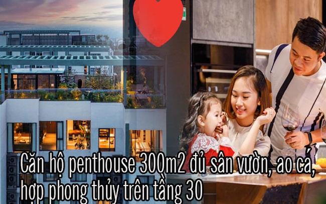 """Vợ chồng trẻ thiết kế penthouse 300m2 đủ sân vườn, ao cá, hợp phong thủy trên tầng 30: Ngôi nhà """"đàng hoàng"""" tức là không gian sống xanh, sạch, thoáng, phục vụ cho cuộc sống gia đình"""