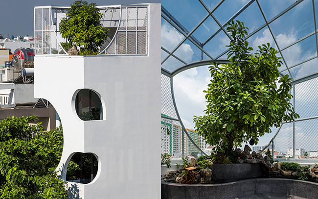 """Ngôi nhà cắt khoét siêu """"art"""" chiếm spotlight cả khu phố: Design bên trong xịn không kém, sân thượng chill như quán cafe"""