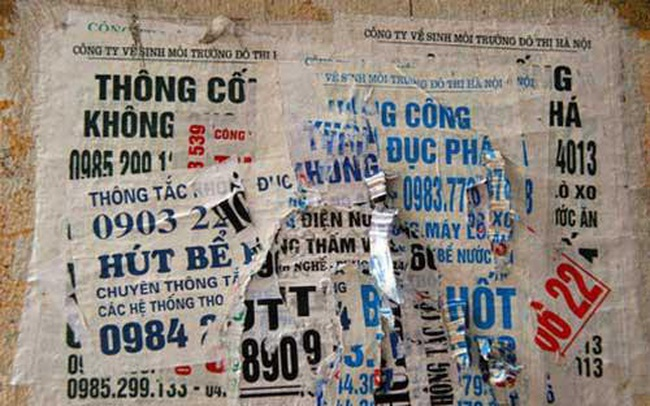 Hà Nội đề nghị khóa các số điện thoại quảng cáo hút bể phốt, cho vay lãi