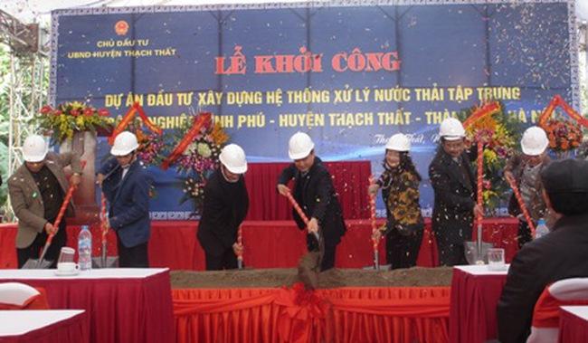 Thạch Thất khởi công dự án xây dựng hệ thống xử lý nước thải tập trung Cụm Công nghiệp Bình Phú