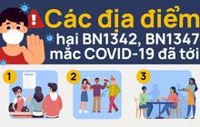 Các địa điểm bệnh nhân 1342 và 1347 mắc COVID-19 đã tới
