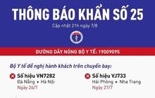 Khẩn: Tìm người đi trên 2 chuyến bay Hà Nội - Đà Nẵng và Hải Phòng - Nha Trang