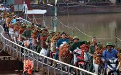 """Vải thiều Bắc Giang vào vụ, dân gồng mình chở hàng tạ vải chòng chành qua chiếc cầu phao """"tử thần"""": """"Ngã lộn xuống sông là chuyện bình thường"""""""