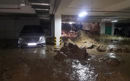 Hầm chung cư bị vỡ, hàng trăm tấn bùn vùi lấp nhiều xe