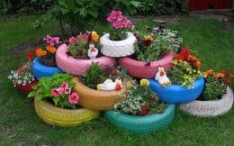 Sân vườn đẹp như mơ nhờ những món đồ tái chế