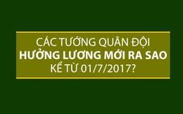 Các tướng quân đội hưởng lương mới ra sao kể từ 01/7/2017?
