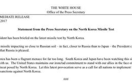 Nhà Trắng: Tên lửa Triều Tiên bay tới sát Nga hơn Nhật
