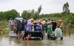 Người dân Quảng Nam dùng xe bò chở xe máy vượt lũ
