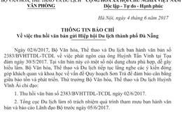 Bộ VHTTDL chỉ đạo thu hồi văn bản gửi Hiệp hội Du lịch thành phố Đà Nẵng
