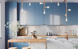 Ngắm phòng bếp được thiết kế lung linh với màu xanh dương