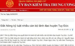 Cảnh cáo Chủ tịch, Chủ nhiệm UBKT Tuy Đức, Đắk Nông
