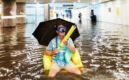 Nhà ga ở Thụy Điển biến thành bể bơi công cộng sau mưa lớn
