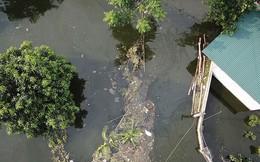 Rác thải cùng nước len lỏi vào nhà dân vùng rốn lũ Hà Nội