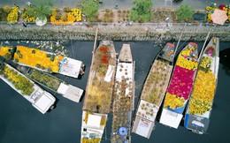 Chùm ảnh: Những chiếc thuyền đầy ắp hoa xuân cập bến ở Sài Gòn qua góc nhìn xinh xắn từ flycam