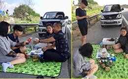 Dân mạng phẫn nộ với gia đình dừng xe, mở tiệc trên cao tốc Nội Bài - Lào Cai