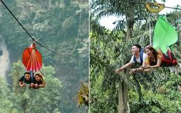 """Dân mạng """"rùng mình"""" với trải nghiệm treo người lửng lơ vượt các con thác cao nhất châu Á, liệu bạn có dám thử?"""