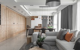 Nhà hẹp vẫn sang trọng và rộng rãi nhờ tủ âm tường bằng gỗ kính