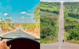 Con đường dựng thẳng đứng đến chân trời ở Tây Nguyên khiến dân mạng trầm trồ vì quá phiêu lưu và đẹp đẽ