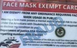 """""""Thẻ miễn đeo khẩu trang"""" và Tổ chức Quyền Tự do Thở làm nhiều người dân Mỹ hoang mang"""