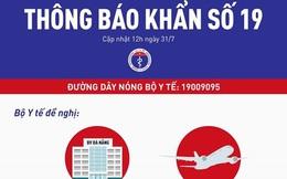 THÔNG BÁO KHẨN: Bộ Y tế tìm người trên chuyến bay Đà Nẵng - Hà Nội sáng 25/7