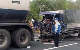 Ô tô tải va chạm với xe bồn trên cao tốc Hà Nội - Hải Phòng, tài xế tử vong trong cabin