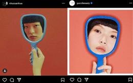 """Gucci bị nghệ sĩ gốc Việt tố """"ăn cắp"""" ý tưởng: Đạo nhái hình gốc từ năm 2016, giống từ cách chụp cận mặt người mẫu qua chiếc gương tay, đến bố cục, phông nền"""