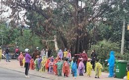 Nhìn hình ảnh các em nhỏ Hải Dương mặc áo mưa, đeo khẩu trang kín mít phòng dịch Covid-19 mà thương!