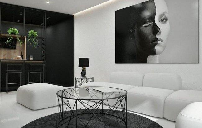 Mẫu thiết kế nội thất cực đẹp và hợp lý từ tông màu đen -trắng của căn hộ chỉ 55m2